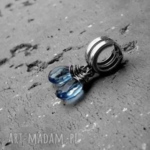 niebieskie kolczyki delikatne kropelki - srebro i kwarc iolitowy