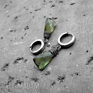 Cocopunk Kolczyki krople - srebro i kwarc oliwkowy - zielone delikatne