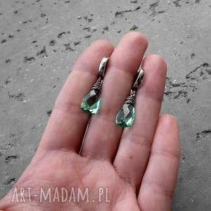 turkusowe kobiece kolczyki krople - srebro i kwarc
