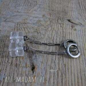 kolczyki srebro kryształ górski na łańcuszku