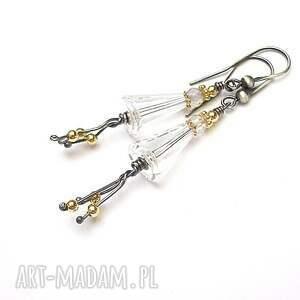 nietuzinkowe srebro kryształowe dzwonki - kolczyki