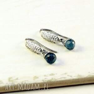 niebieskie srebro oksydowane kwarc i ażur