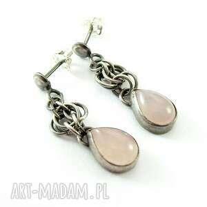 eleganckie srebro kolczyki kwarc różowy w kropelce
