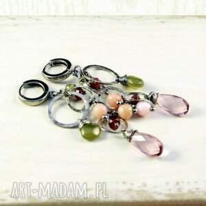 srebro-oksydowane kolczyki różowe kwarc wiosenny
