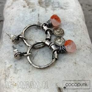 unikatowe kolczyki karneol kwarc z karneolem i srebro