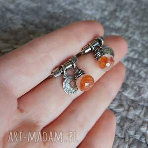 karneol kolczyki pomarańczowe kwarc z karneolem i srebro