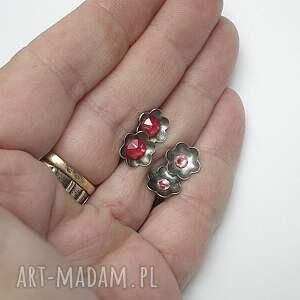 czerwone srebro kwiatuszki -koralowe