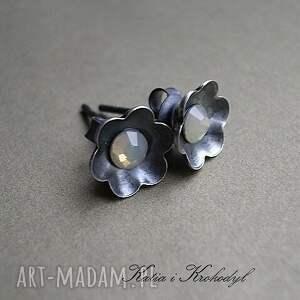 kolczyki srebro kwiatuszki - mgiełki
