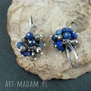 gustowne kolczyki lapis lazuli i piryt