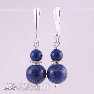 niebieskie kolczyki lapis lazuli, granatowe