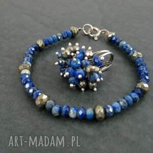 piryt kolczyki lapis lazuli i