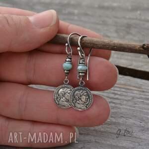 trendy larimar - kolczyki z monetą