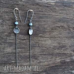 niebieskie kolczyki srebro larimar długie srebrne