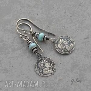 niebieskie larimar - kolczyki z monetą