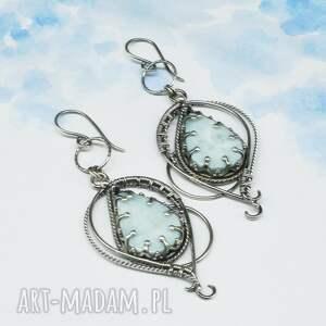BranickaArt Larimar wire wrapping, kolczyki Lethias - kamienie szlachetne długie srebrne