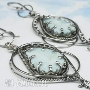 BranickaArt niebieskie wire wrapping larimar, kolczyki