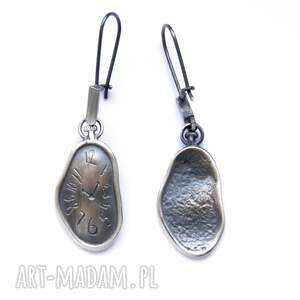 kolczyki srebro - lejące zegary