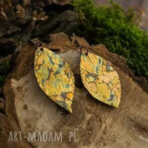 złote kolczyki liście glamorous