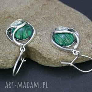 zielone kolczyki malachit srebro 925