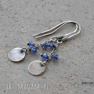 niebieskie kolczyki srebro małe surowe - kianit