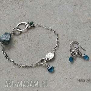 niebieskie kolczyki srebro małe surowe z apatytem