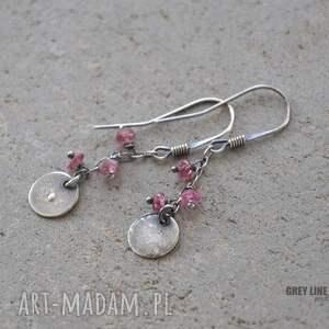kolczyki srebrne małe szlachetne - różowy