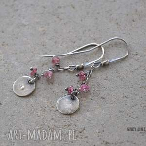 kolczyki srebrne małe szlachetne - różowy turmalin