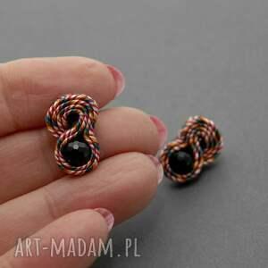 kolczyki sznurek małe sutasz z onyksami