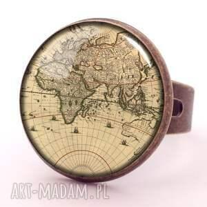 ręcznie robione kolczyki mapa świata - duże wiszące