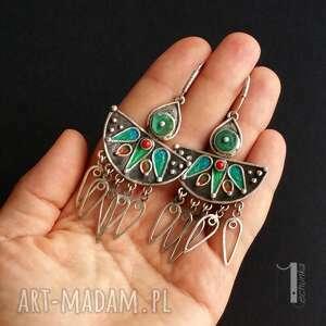 miechunka Maroko srebrne kolczyki z howlitem i koralem - etno