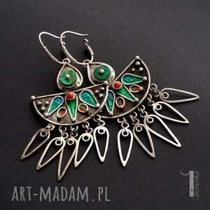 czerwone metaloplastyka maroko srebrne kolczyki z howlitem