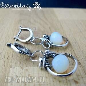 białe kolczyki opalit maziwa - opalit, srebro