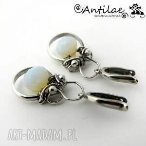 wyjątkowe kolczyki maziwa - opalit, srebro