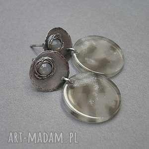 szare srebro mgliste - kolczyki