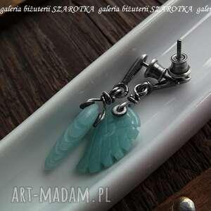 skrzydła kolczyki turkusowe miętowe anioły z amazonitu