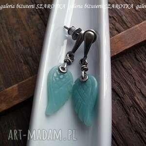 niebieskie kolczyki skrzydełka miętowe anioły z amazonitu