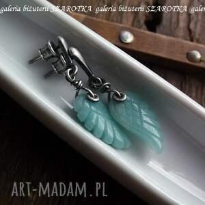 eleganckie kolczyki skrzydła miętowe anioły z amazonitu