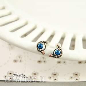 niebieskie kolczyki mini hematyt blue -