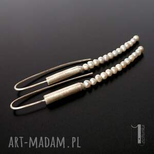 szare kolczyki mist i srebrne z perłami