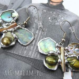 srebrne kolczyki wiszące : motylki jadeitowe