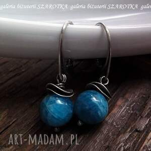 niebieskie apatyt na fali kolczyki z apatytu i srebra