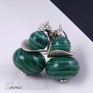 handmade kolczyki na zielono, z malachitu