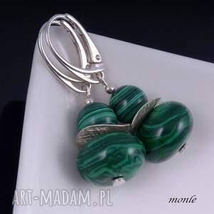zielone kolczyki na zielono, z malachitu