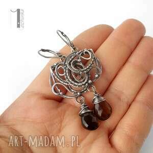 hand made kolczyki nefele srebrne z kwarcem