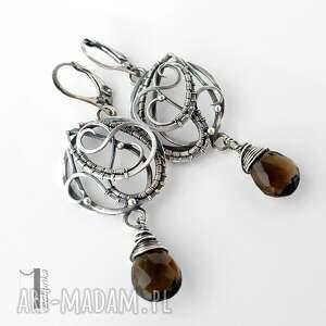 srebrne kolczyki nefele z kwarcem