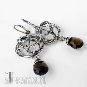 kolczyki szare nefele srebrne z kwarcem