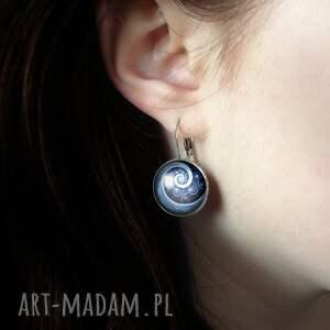 kolczyki wiszące niebieska spirala - duże