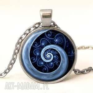 kolczyki wzorzyste niebieska spirala - małe