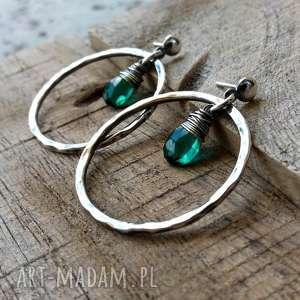 intrygujące okrągłe kolczyki - srebro i kwarc
