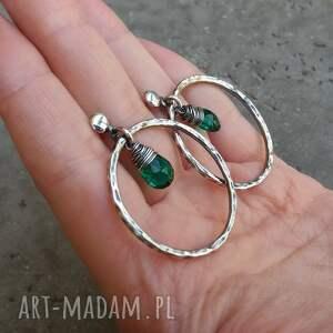 turkusowe koła kolczyki okrągłe - srebro i kwarc
